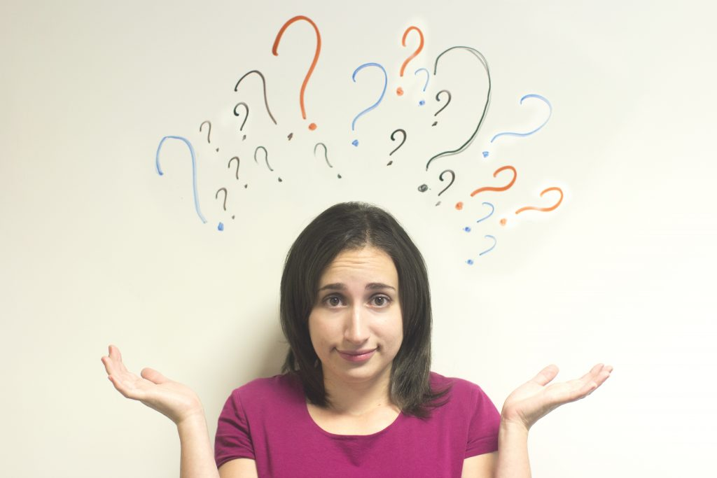 Girl with Question Marks over Her Head Image