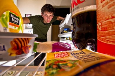 Teen Opening Fridge for Snack Image
