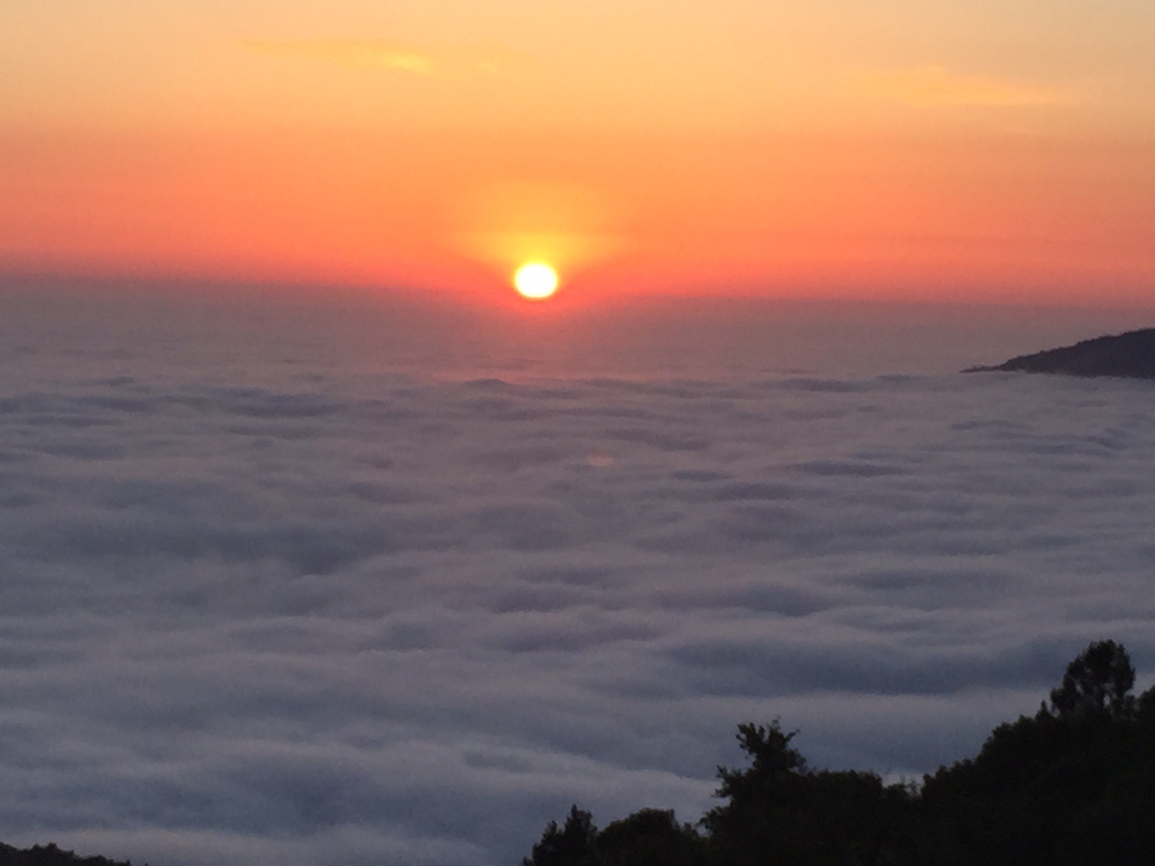 Camping Sunset Over Clouds Image