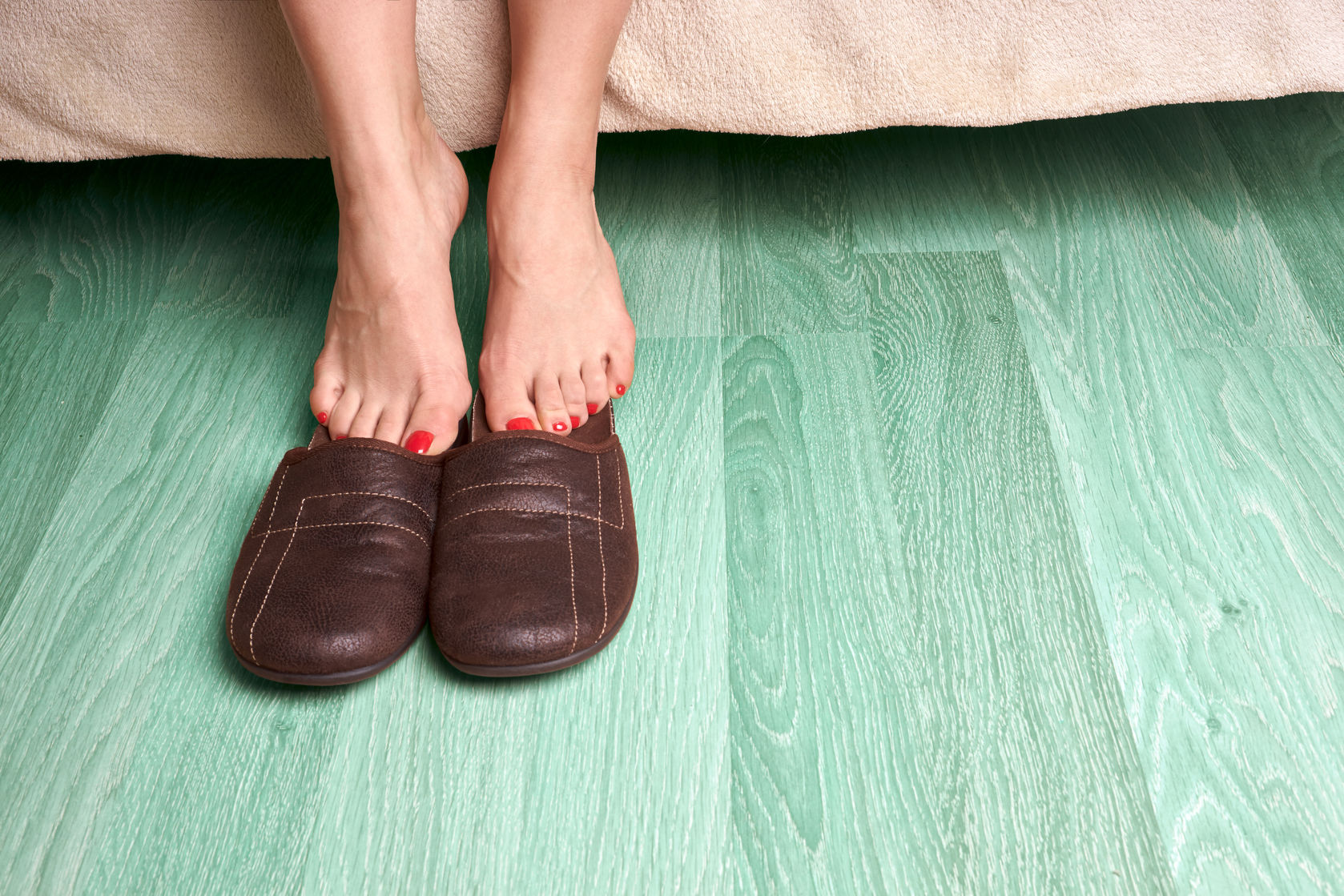 Female Feet in Slippers Image