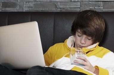Teen Falling Asleep Doing Schoolwork Image