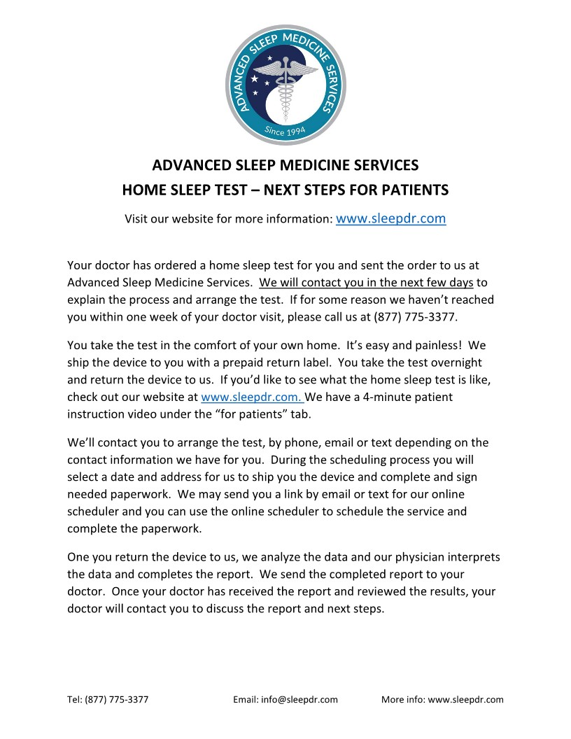 Advanced Sleep Medicine Services - Next Steps for Patients